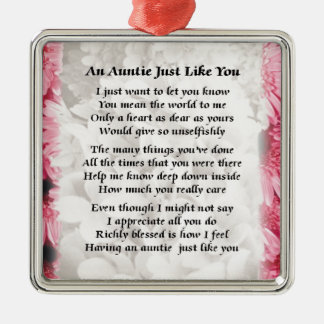 Auntie poem - Pink Floral design Christmas Ornament