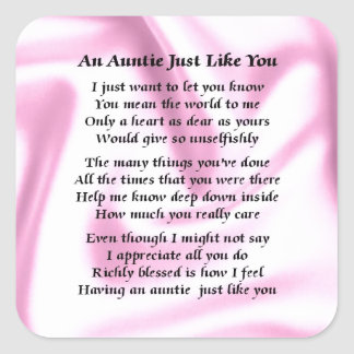 Auntie Poem Pink Silk Square Sticker