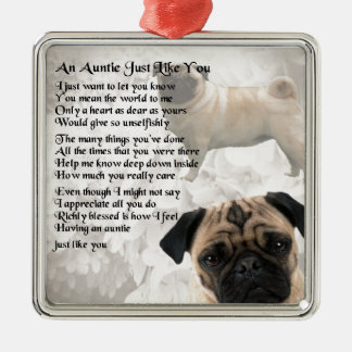 Auntie Poem - Pug Design Christmas Ornament