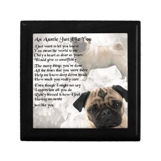Auntie Poem - Pug Design Small Square Gift Box