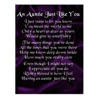 Auntie Poem - Purple Postcard