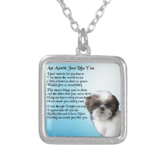 Auntie Poem  - Shih Tzu Dog design Silver Plated Necklace