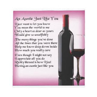 Auntie Poem - Wine Design Notepad