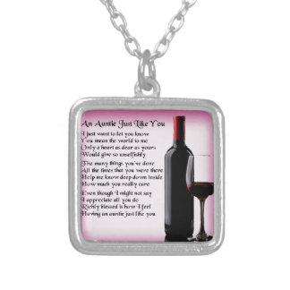 Auntie Poem - Wine Design Square Pendant Necklace