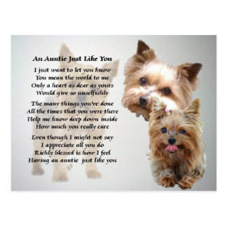 Auntie Poem - Yorkshire terrier Postcard