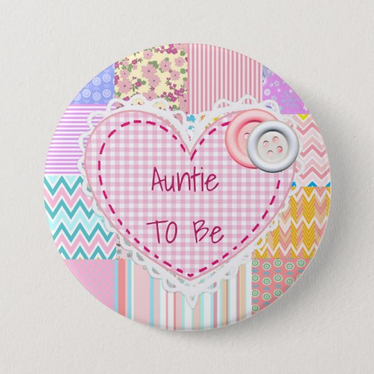 Auntie To Be Quilted Heart Baby Shower Button