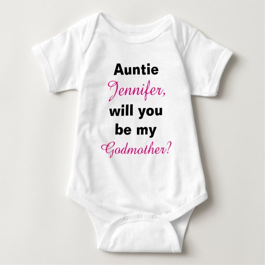 Auntie Will You Be My Godmother Baby Bodysuit