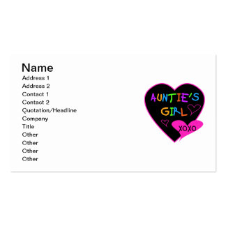 Aunties Girl t shirts, mugs, hats, and more Pack Of Standard Business Cards