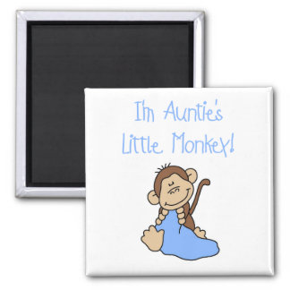Auntie's Little Monkey Blue T-shirts and Gifts Refrigerator Magnets