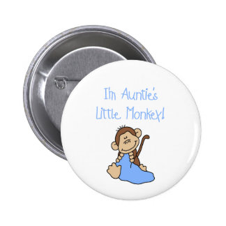 Auntie's Monkey - Blue Tshirts and Gifts Pinback Button