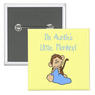 Auntie's Monkey - Blue Tshirts and Gifts 15 Cm Square Badge