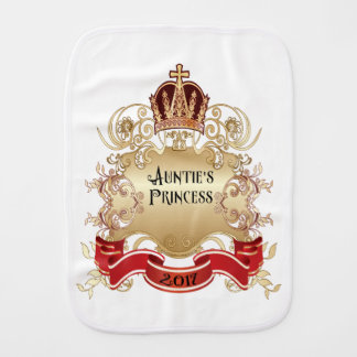 Auntie's Princess Burp Cloth-White Burp Cloth