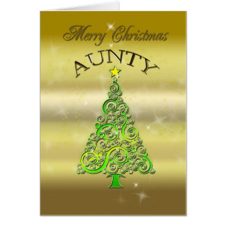 Aunty, a gold effect Christmas card