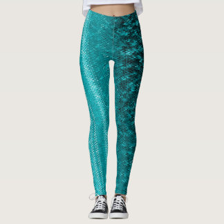 Auqa Blue Embroidery Patterned Leggings