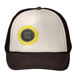 Aureolin Yellow Giraffe; Chalkboard look Trucker Hat