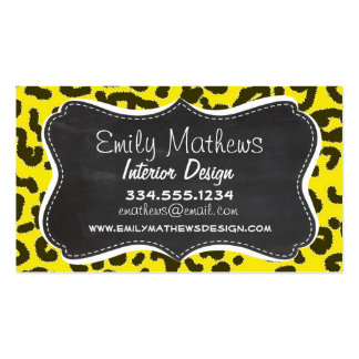 Aureolin Yellow Leopard Animal Print; Chalkboard Business Cards