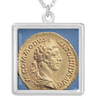 Aureus  bust of Commodus Silver Plated Necklace