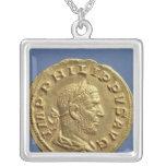 Aureus  of Philip the Arab Square Pendant Necklace
