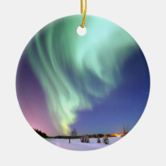 Aurora - Beautiful Northern Lights Round Ceramic Decoration