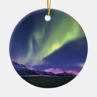 Aurora Borealis above Lyngenfjorden Norway Round Ceramic Decoration