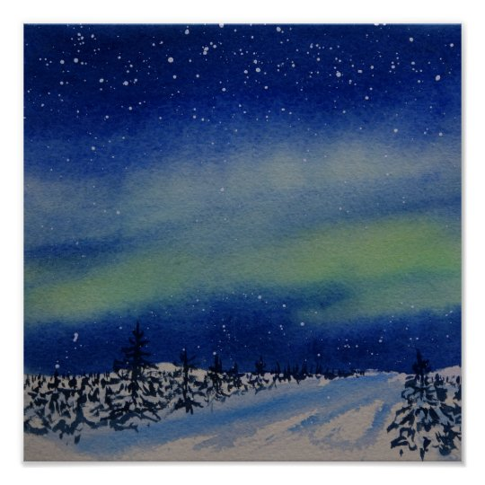 Aurora Borealis at night and snow covered forest Poster