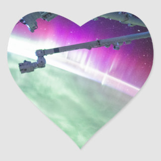 Aurora Borealis from space Heart Sticker
