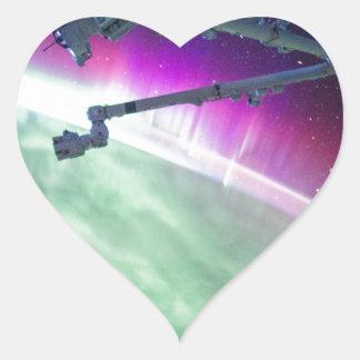 Aurora Borealis from space Heart Sticker