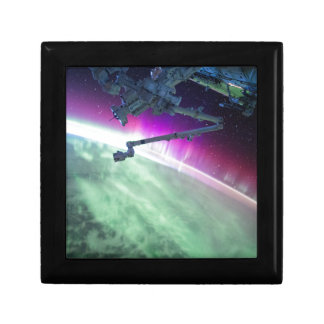 Aurora Borealis from space Small Square Gift Box