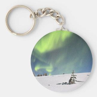 Aurora Borealis green Northern lights snowscape Keychains