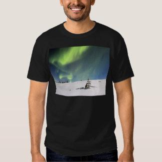 Aurora Borealis green Northern lights snowscape Shirts