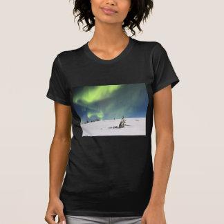 Aurora Borealis green Northern lights snowscape T-Shirt