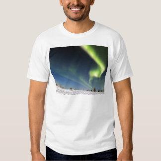Aurora Borealis green Northern lights snowscape T-shirts
