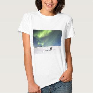 Aurora Borealis green Northern lights snowscape Tees