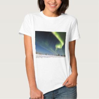 Aurora Borealis green Northern lights snowscape Tshirts
