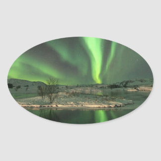 Aurora Borealis Iceland Oval Sticker