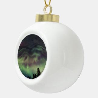 Aurora borealis in Finnish Lapland Ceramic Ball Christmas Ornament