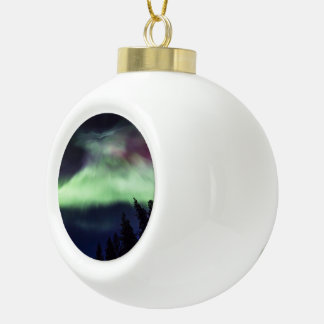 Aurora borealis in Finnish Lapland Ceramic Ball Christmas Ornament