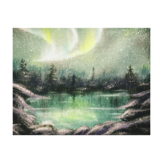 Aurora Borealis, Northern Lights, Oil Painted Gallery Wrapped Canvas