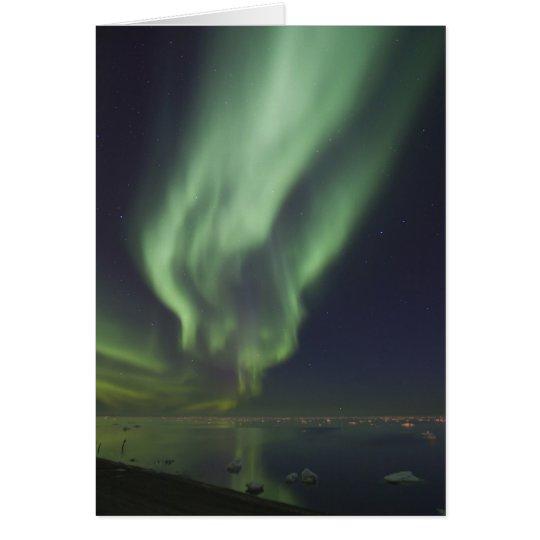 Aurora Borealis reflected in Arctic Ocean Card