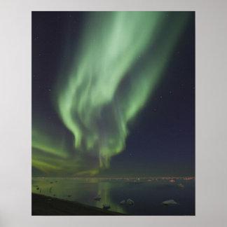 Aurora Borealis reflected in Arctic Ocean Poster