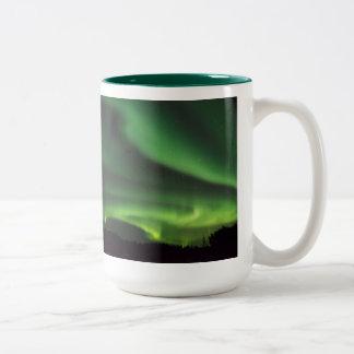 aurora cat Two-Tone coffee mug