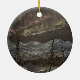 Aurora Flight Double-Sided Ceramic Round Christmas Ornament