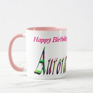 Aurora, Happy Birthday, Pink Combo Coffee Mug. Mug