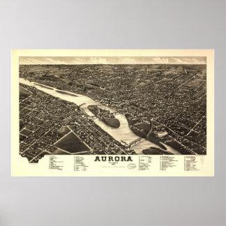 Aurora Illinois 1882 Antique Panoramic Map Print
