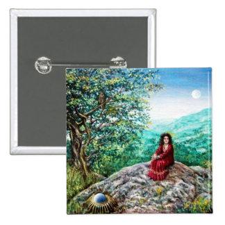 AURORA / MAGIC TREE, green, blue, Pinback Buttons