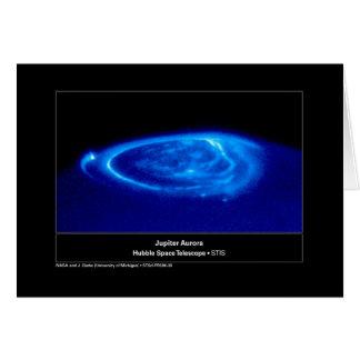 Aurora on Jupiter Hubble Telescope Card
