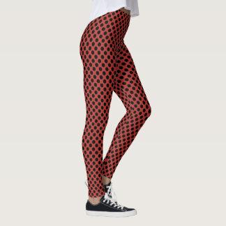 Aurora Red and Black Polka Dots Leggings