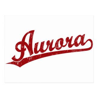 Aurora script logo in red postcard