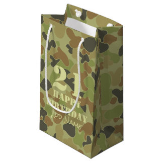 Auscam green camouflage small gift bag