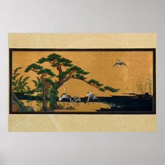 Auspicious pine, bamboo, plum, Crane, and turtles Poster